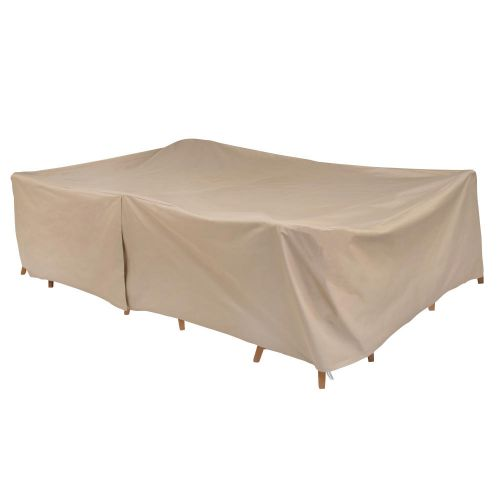 """Basics Rect/Oval Outdoor Patio Table & Chair Set Cover, 115""""L x 76""""W x 30""""H, Khaki"""