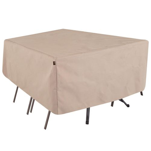 """Chalet Rect/Oval Patio Table & Chair Set Cover, 72""""L x 44""""W x 23""""H, Beige"""