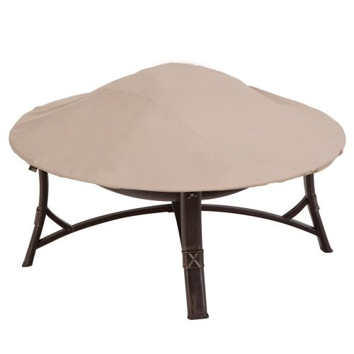 """Chalet Round Outdoor Patio Fire Pit Cover, 44"""" Dia x 3""""H, Beige"""