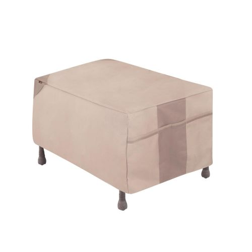"""Monterey Outdoor Patio Ottoman/Side Table Cover, 32""""L x 22""""W x 17""""H, Beige"""