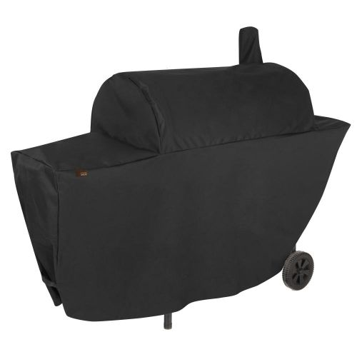 """Chalet Outdoor Patio Chimney Smoker Charcoal Grill Cover, 67""""L x 26""""W x 50""""H, Black"""