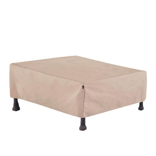 """Chalet Outdoor Patio Coffee Table/Ottoman Cover, 48""""L x 25""""W x 18""""H, Beige"""